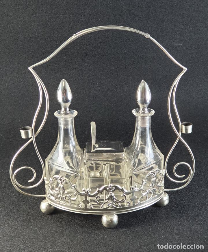 Antigüedades: vinagrera plata ley marcado con contraste siglo XIX - Foto 4 - 195375757