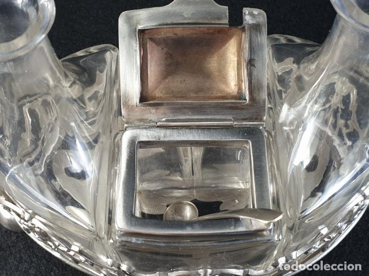 Antigüedades: vinagrera plata ley marcado con contraste siglo XIX - Foto 11 - 195375757