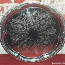 Antigüedades: BANDEJA DE METAL NIQUELADO. Lote 195376891