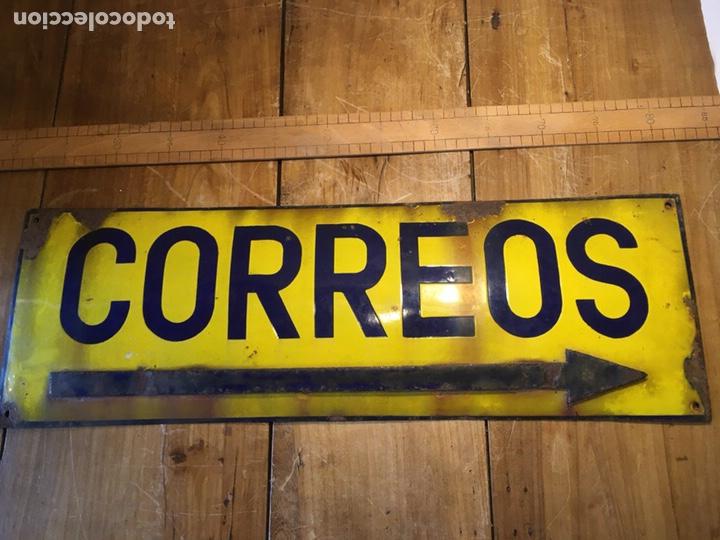 CARTEL DE CHAPA ANTIGUO CORREOS ESMALTADA (Antigüedades - Varios)