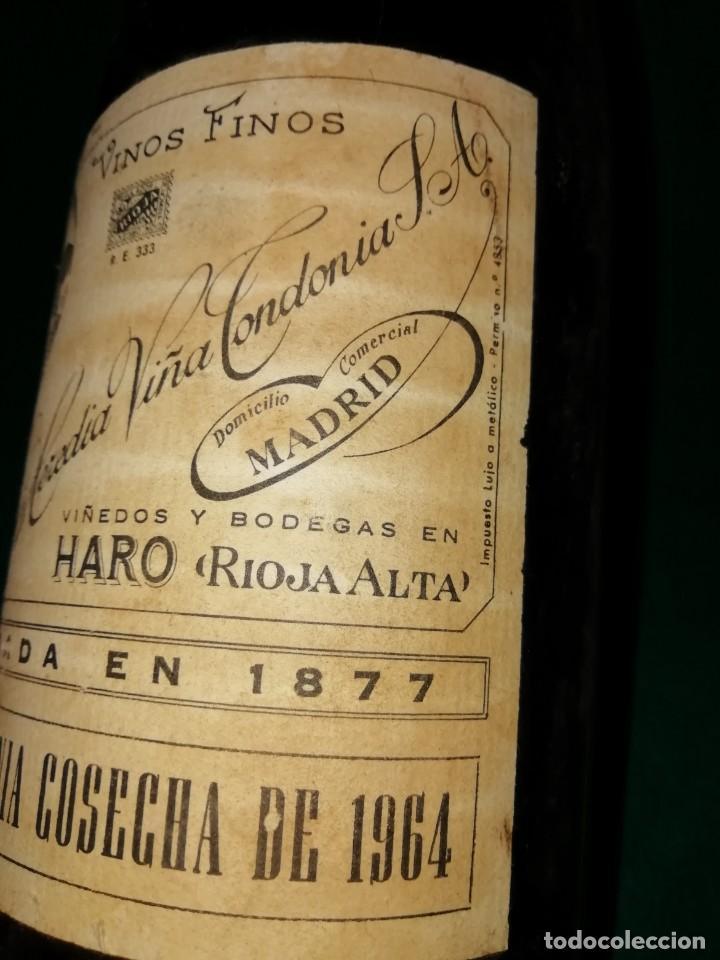 Antigüedades: Botella de vino viña Tondonia 1964 - Foto 3 - 195385208