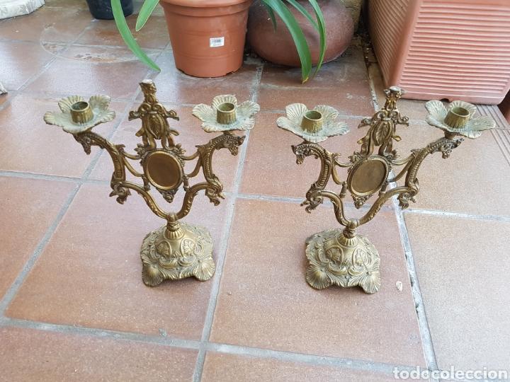 JUEGO DE CANDELABROS DE CALAMINA (Antigüedades - Iluminación - Candelabros Antiguos)