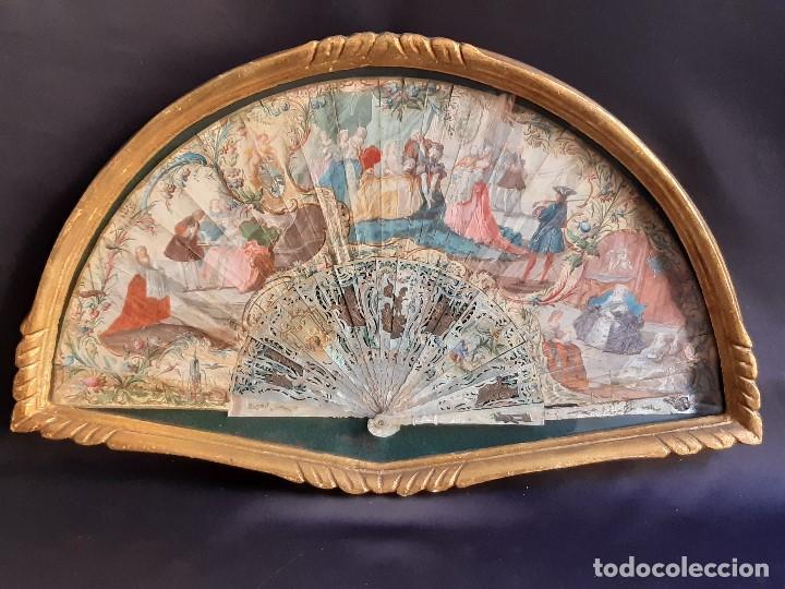 ABANICO. NACAR Y PAPEL PINTADO. FRANCIA. SIGLO XVIII - XIX. (Antigüedades - Moda - Abanicos Antiguos)