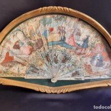 Antigüedades: ABANICO. NACAR Y PAPEL PINTADO. FRANCIA. SIGLO XVIII - XIX.. Lote 195386698