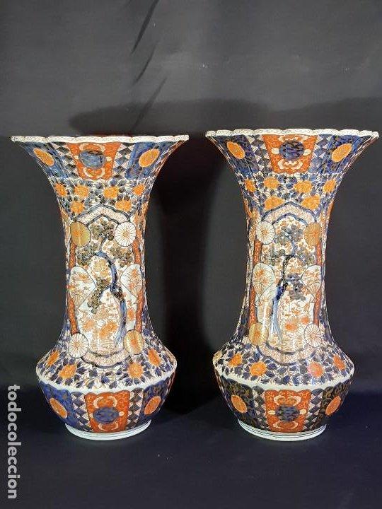 PAREJA JARRONES. PORCELANA. IMARI. JAPÓN. SIGLO XVIII-XIX. (Antigüedades - Porcelana y Cerámica - Japón)