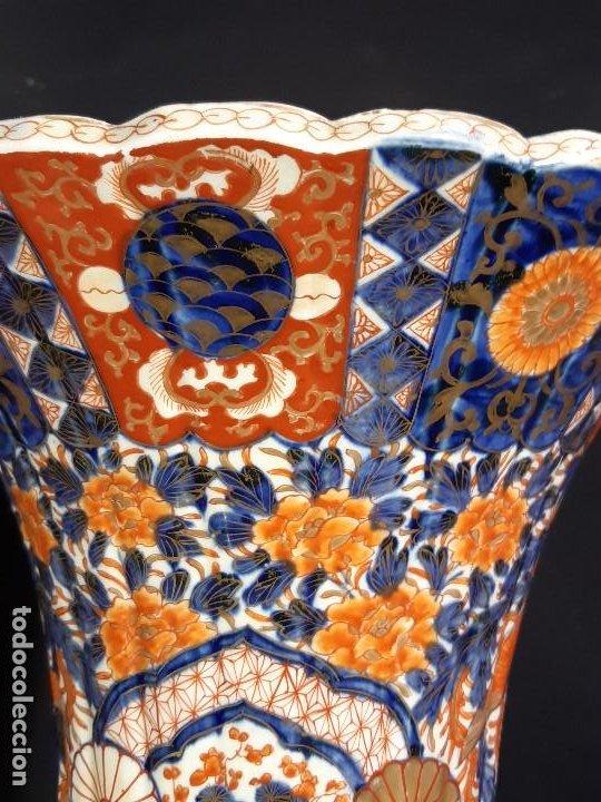 Antigüedades: Pareja jarrones. Porcelana. Imari. Japón. Siglo XVIII-XIX. - Foto 6 - 195388031