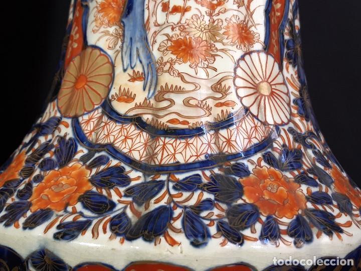 Antigüedades: Pareja jarrones. Porcelana. Imari. Japón. Siglo XVIII-XIX. - Foto 9 - 195388031