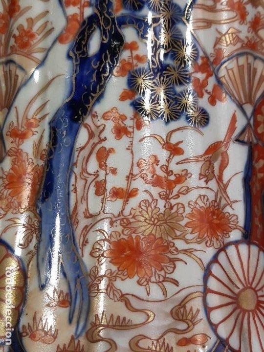 Antigüedades: Pareja jarrones. Porcelana. Imari. Japón. Siglo XVIII-XIX. - Foto 10 - 195388031