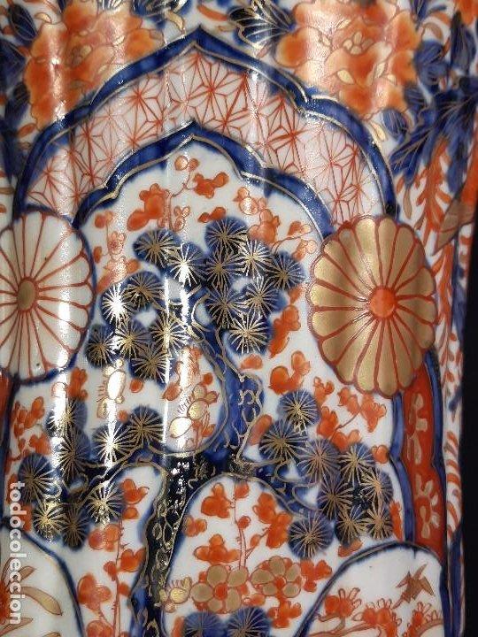 Antigüedades: Pareja jarrones. Porcelana. Imari. Japón. Siglo XVIII-XIX. - Foto 11 - 195388031