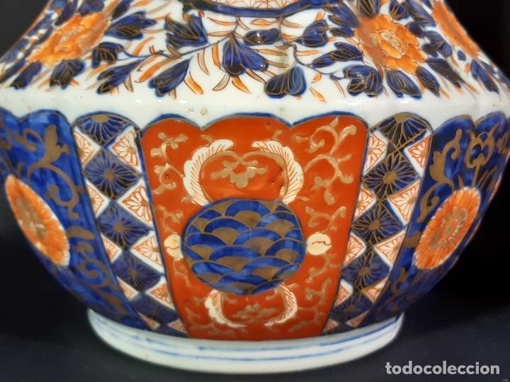 Antigüedades: Pareja jarrones. Porcelana. Imari. Japón. Siglo XVIII-XIX. - Foto 14 - 195388031