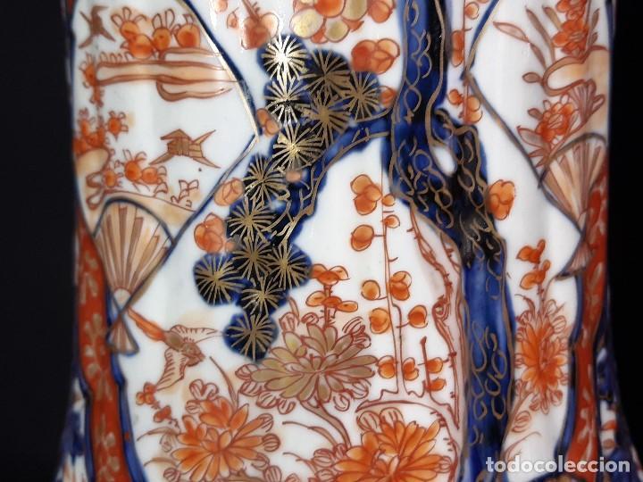 Antigüedades: Pareja jarrones. Porcelana. Imari. Japón. Siglo XVIII-XIX. - Foto 16 - 195388031