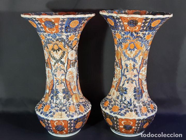 Antigüedades: Pareja jarrones. Porcelana. Imari. Japón. Siglo XVIII-XIX. - Foto 21 - 195388031