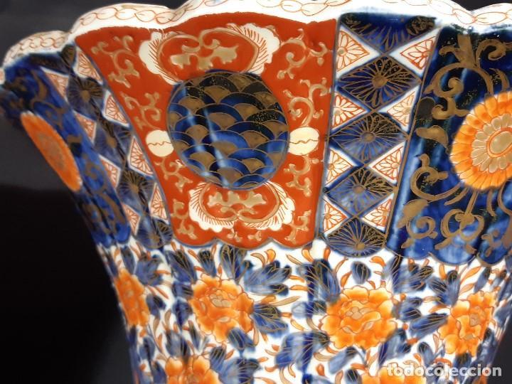 Antigüedades: Pareja jarrones. Porcelana. Imari. Japón. Siglo XVIII-XIX. - Foto 29 - 195388031