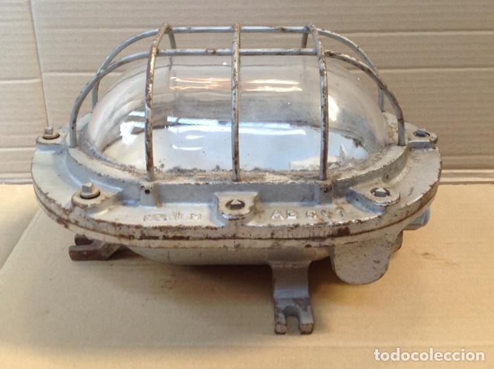 ANTIGUO LAMPARA FAROL DE BARCO DE HIERRO FUNDIDO NORTEM (Antigüedades - Iluminación - Faroles Antiguos)