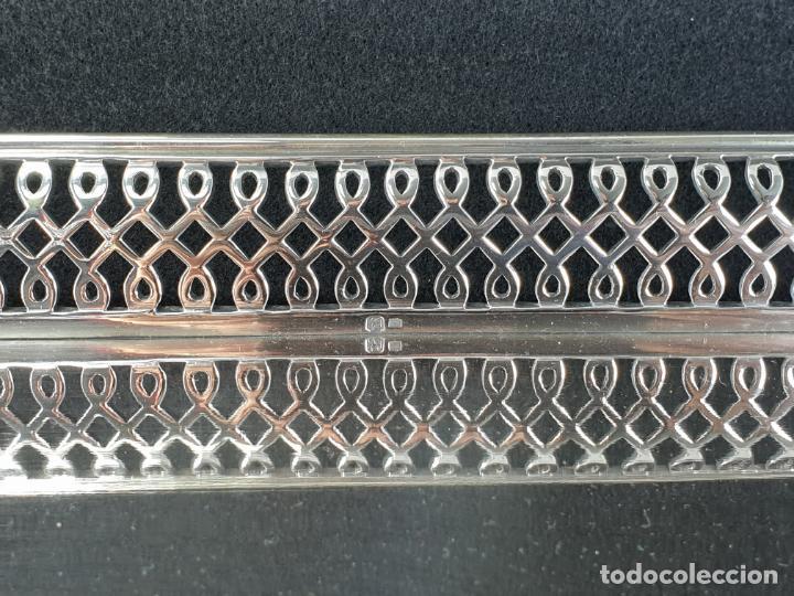 Antigüedades: bandeja en plata ley marcado con contraste - Foto 3 - 195389107