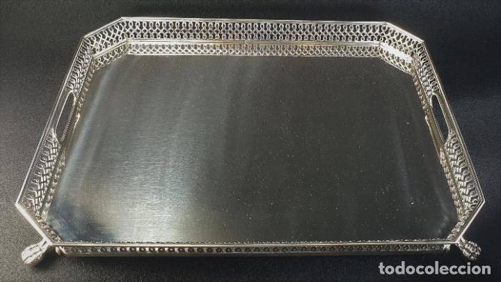 Antigüedades: bandeja en plata ley marcado con contraste - Foto 7 - 195389107