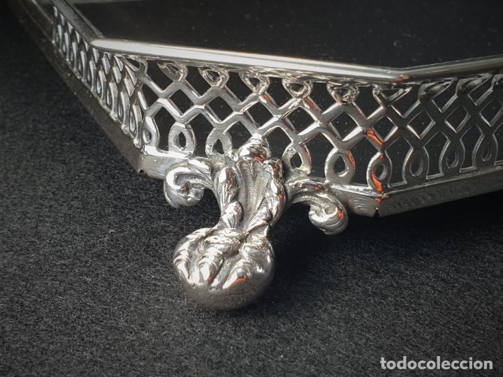 Antigüedades: bandeja en plata ley marcado con contraste - Foto 9 - 195389107
