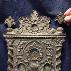 Antigüedades: RELICARIO LATON TROQUELADO PPIO S XX ROCALLAS COLUMNAS SALOMONICAS 4 REGISTROS 33 X 25 X 1. Lote 195390825