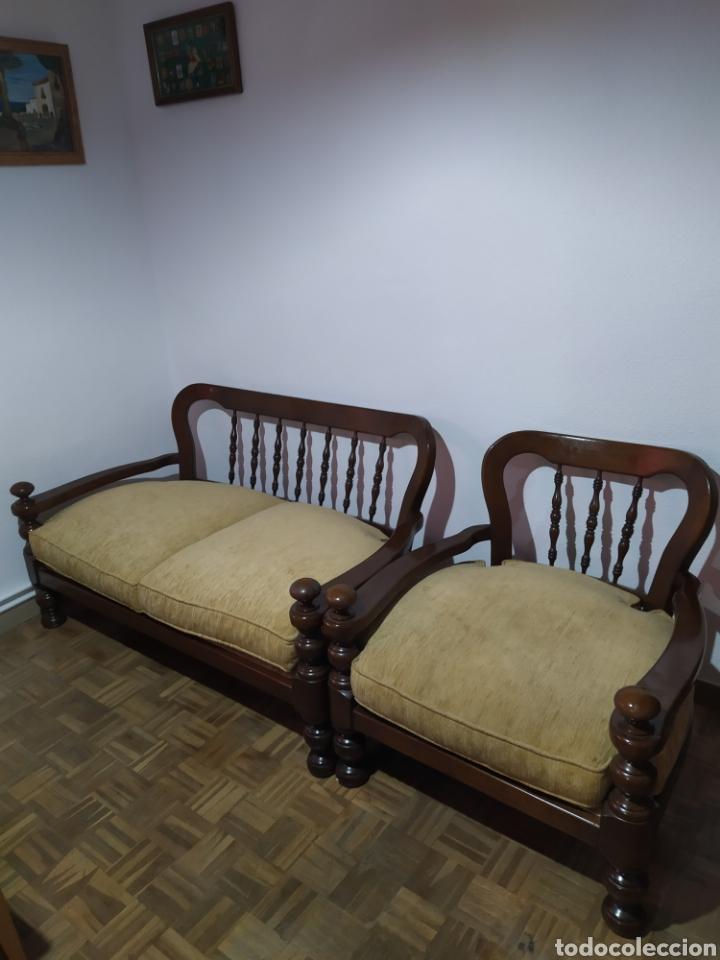 Antigüedades: Sofá y sillón de madera vintage - Foto 2 - 195394742