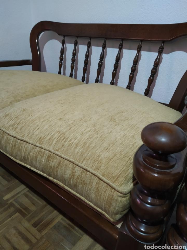 Antigüedades: Sofá y sillón de madera vintage - Foto 3 - 195394742
