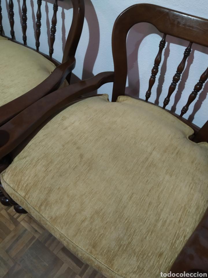 Antigüedades: Sofá y sillón de madera vintage - Foto 4 - 195394742