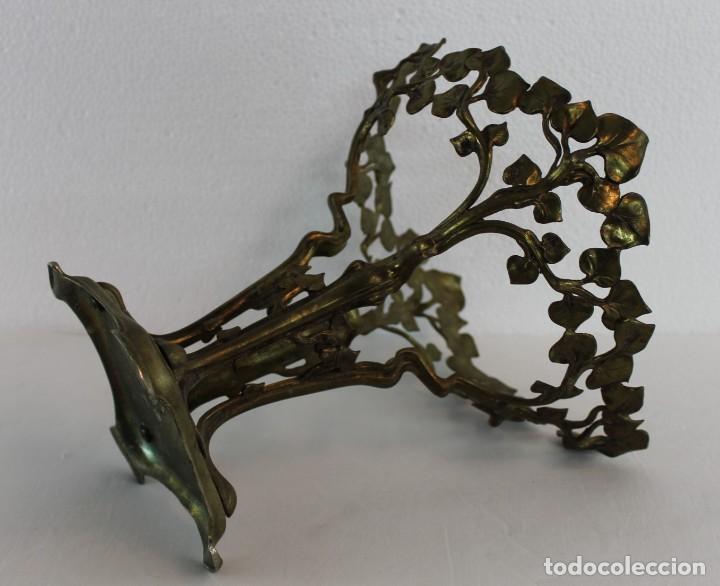 Antigüedades: CENTRO DE MESA ART NOUVEAU EN METAL DORADO CON DECORACIÓN VEGETAL - PRINCIPIOS DEL SIGLO XX - Foto 6 - 195405617