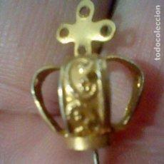 Antigüedades: CORONA VIRGEN PINCHO METAL DORADO 2 CMS ALTO . Lote 195406600