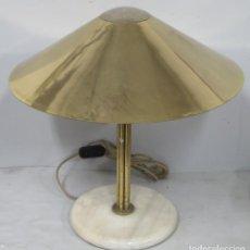Antigüedades: LAMPARA SETA DE LATON Y MARMOL. ESTILO ART-DECO. Lote 195414863