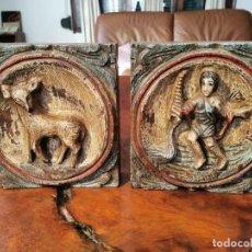 Antigüedades: DOS FIGURAS PARA RELLENO DE CLAUSTRO, MADERA POLICROMADA.. Lote 195414978
