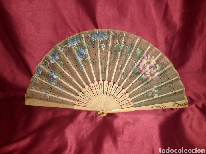 ABANICO ROMANTICO 1890-1900 (Antigüedades - Moda - Abanicos Antiguos)