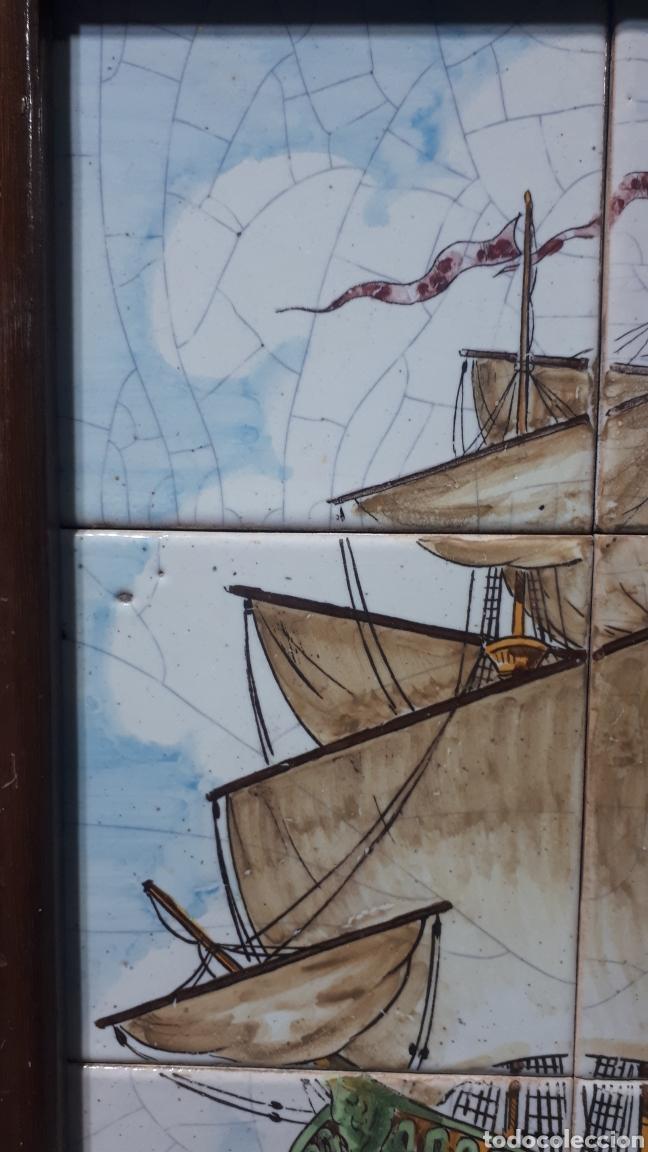 Antigüedades: Muy antiguo cuadro azulejos con galeón pintado a mano posiblemente manises - Foto 3 - 195421623