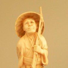 Antigüedades: OKIMONO EN IVOIRE – SIGNÉ « SEGAI' 世外»- JAPON PÉRIODE MEIJI (1868/1912) CIRCA 1890.. Lote 195427688