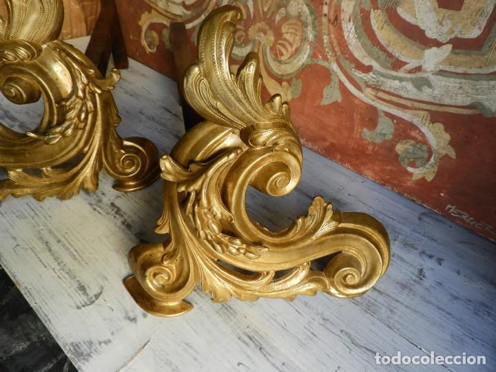 Antigüedades: MORILLOS DE CHIMENEA DE BRONCE LUIS XV - Foto 3 - 195432208