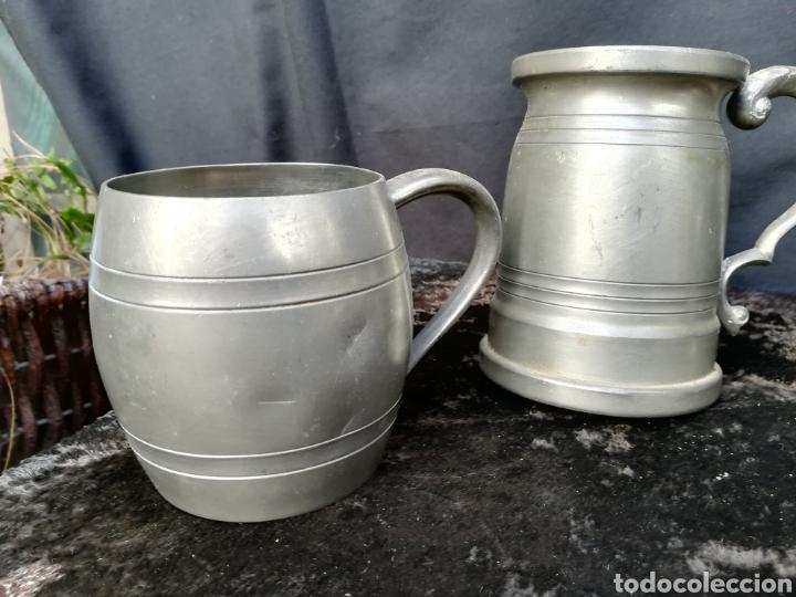 Antigüedades: Lote de 4 jarras de cerveza de zinc a estrenar - Foto 2 - 195437122
