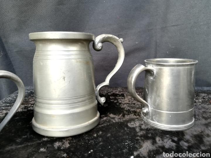 Antigüedades: Lote de 4 jarras de cerveza de zinc a estrenar - Foto 3 - 195437122