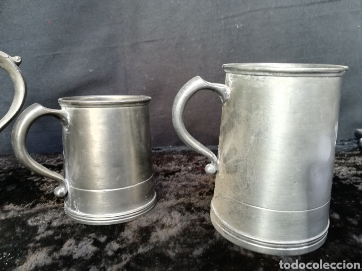 Antigüedades: Lote de 4 jarras de cerveza de zinc a estrenar - Foto 4 - 195437122