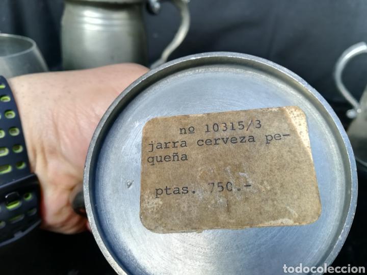 Antigüedades: Lote de 4 jarras de cerveza de zinc a estrenar - Foto 7 - 195437122