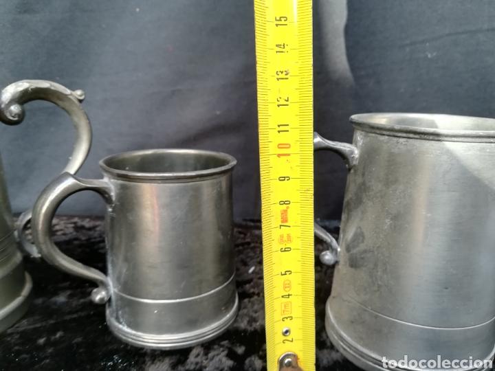 Antigüedades: Lote de 4 jarras de cerveza de zinc a estrenar - Foto 9 - 195437122