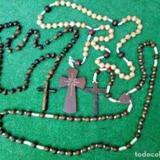 Antigüedades: LOTE 3 ENORMES ROSARIOS DE MADERA. Lote 195437368