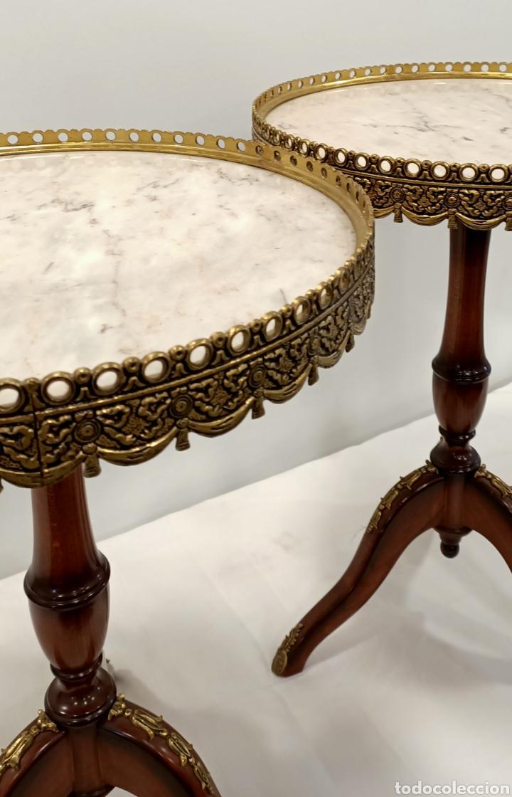 Antigüedades: Mesa velador madera, bronce y marmol - Foto 2 - 195246893