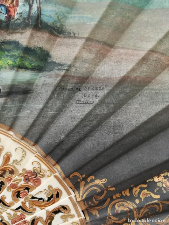 Antigüedades: Precioso abanico varillas marfil o hueso escena de Goya firma Porta - Foto 2 - 195443131