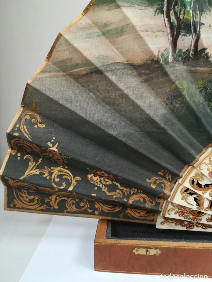Antigüedades: Precioso abanico varillas marfil o hueso escena de Goya firma Porta - Foto 5 - 195443131