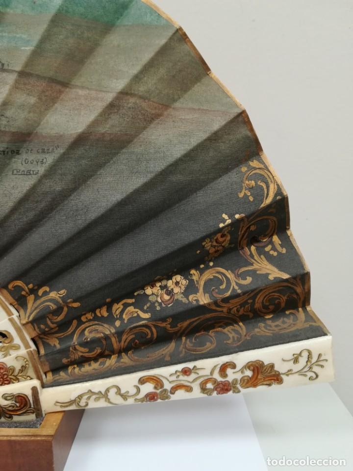 Antigüedades: Precioso abanico varillas marfil o hueso escena de Goya firma Porta - Foto 6 - 195443131