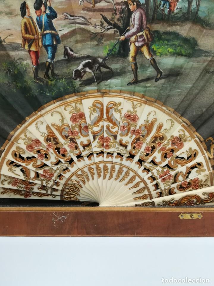 Antigüedades: Precioso abanico varillas marfil o hueso escena de Goya firma Porta - Foto 7 - 195443131
