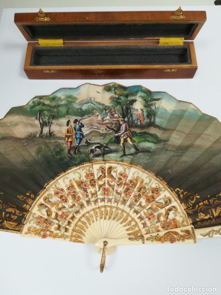 Antigüedades: Precioso abanico varillas marfil o hueso escena de Goya firma Porta - Foto 12 - 195443131