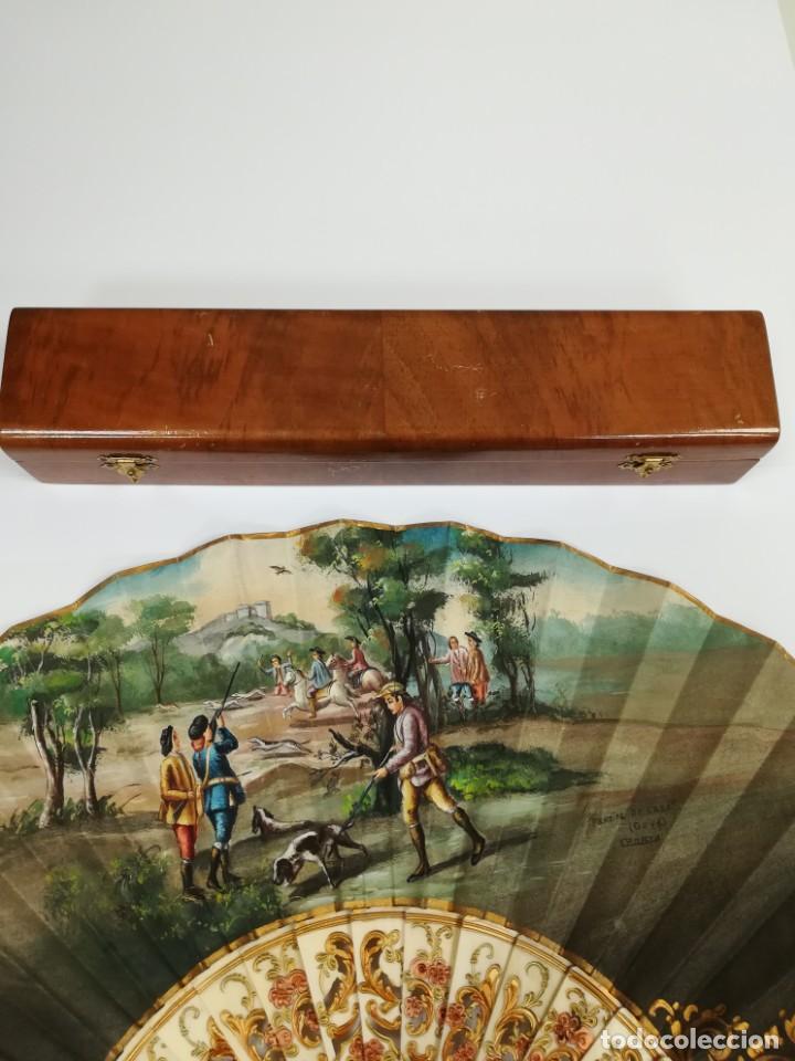 Antigüedades: Precioso abanico varillas marfil o hueso escena de Goya firma Porta - Foto 13 - 195443131