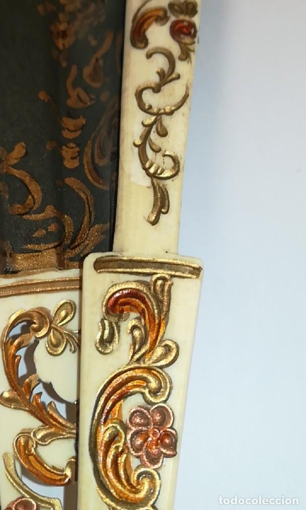 Antigüedades: Precioso abanico varillas marfil o hueso escena de Goya firma Porta - Foto 20 - 195443131