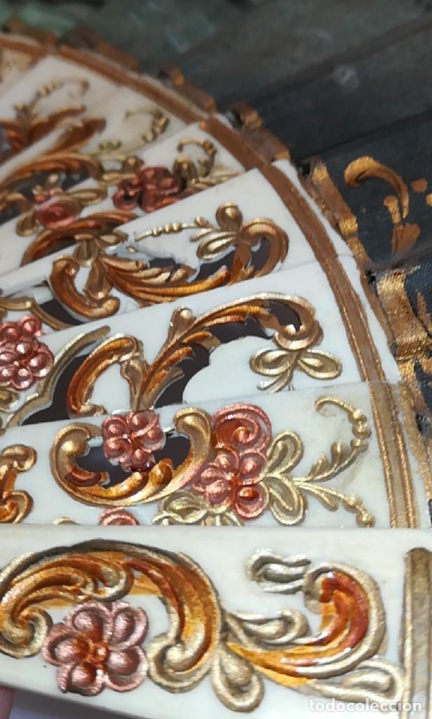 Antigüedades: Precioso abanico varillas marfil o hueso escena de Goya firma Porta - Foto 23 - 195443131