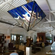 Antigüedades: GRAN LAMPARA DE VIDRIO PLOMADO. Lote 195453126