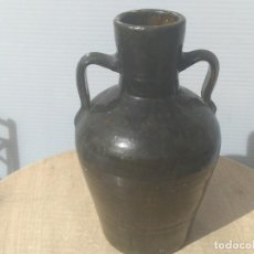 Antigüedades: CÁNTARO ÁNFORA CERAMICA NEGRA VIDRIADA CATALANA. Lote 195465458